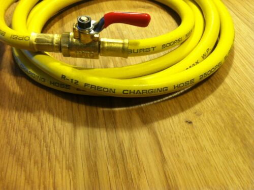 """72/"""" R-12 Yellow Charging Hose With Shut-off Valve"""