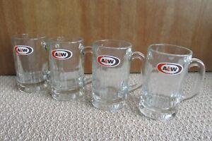 """A & W Root Beer Mugs Thick Heavy Glass 6 """"Tall Set Of 4 12oz  Retro Collectable"""