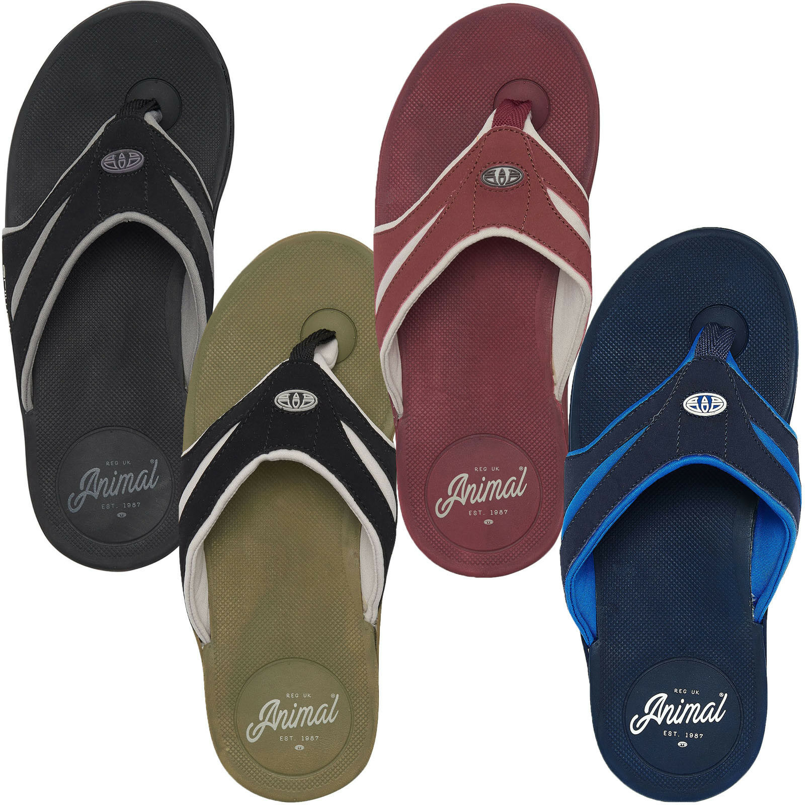 8066041d94f3d0 Animal Fader Mens Sports Surf Flip Flops With Padded and Lined Strap Uk10  Lizard Green An18