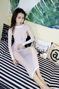 fb00d74a401 Unisex Women Men 3D Sexy Full Bodyhose Long Dress Sheer Velvet ...
