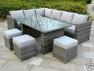 Conservatory sofa dining rattan garden furniture set 9 for 9 seater sofa set