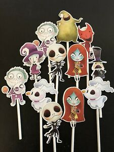 Details About 12 Nightmare Before Christmas Cupcake Toppers Cake Toppers