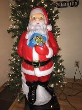 item 5 new christmas 34 santa claus with blue present lighted blow mold yard decor new christmas 34 santa claus with blue present lighted blow mold yard - Lighted Plastic Christmas Yard Decorations