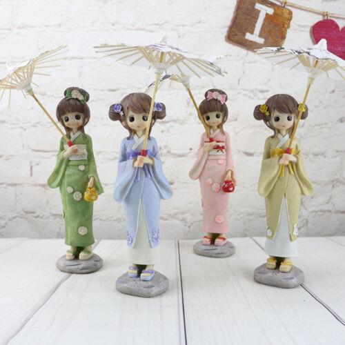 Exquisite Resin Kimono Girl w Umbrella Folding Home Office Decor Ornament Gifts