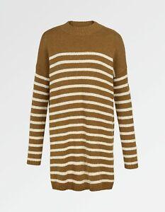 Fat Face - Women's - Sennan Stripe Longline Jumper - Brown - Size 14 - BNWT