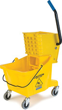 Commercial Mop Bucket With Side Press Wringer 26 Quart Capacity Yellow