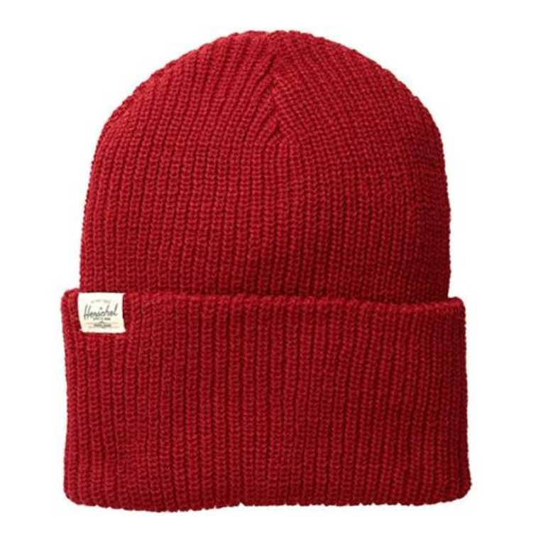 Herschel Supply Co Quartz Classic Knit Beanie Hat Charcoal Gray Red Green NWT