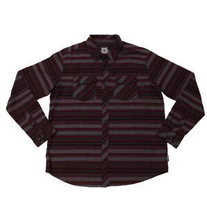 Metal Mulisha Men's 2 Stroke Woven Button Down  Red Flannel Shirt