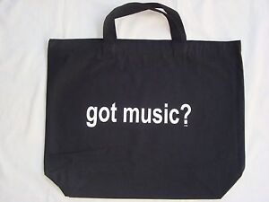 "Got Music Black/White Tote Bag Canvas 18"" x 15"" Great Music Gift NEW"
