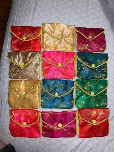 "Small Change Purse Silk Oriental design 3 3//4/"" x 3 1//4/"" Snap closure Lot Of 12"
