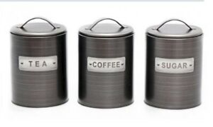 RETRO-SET-OF-3-TEA-COFFEE-SUGAR-CANISTERS-KITCHEN-STORAGE-POT-JARS-AIR-TIGHT-LID