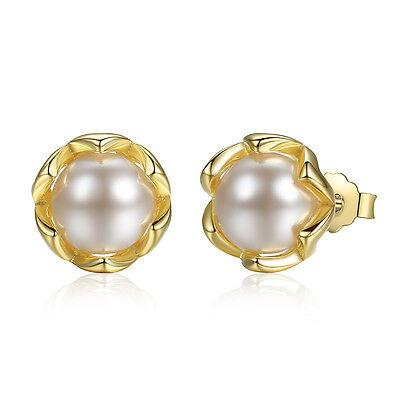 9ct Rose Gold on Sterling Silver INFINITY Drop Dropper Ladies Stud Earrings