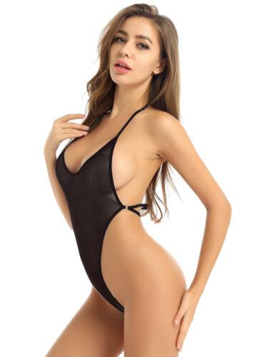 Women See Through Mesh Bodysuit High Cut Backless Leotard Swimwear Bikini Romper