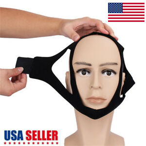 Snore Stop Belt Anti Snoring Cpap Chin Strap Sleep Apnea Jaw Solution TMJ Black✓ 701828071219