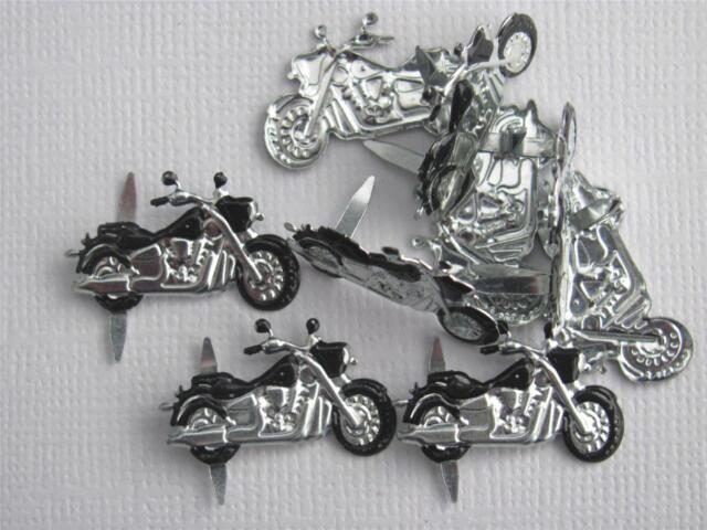 BRADS - MOTORBIKES / MOTOR CYCLE - pk of 6  bike man cards scrapbooking craft