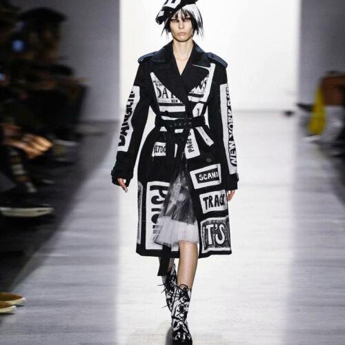 DMS 2020 Women/'s designer inspired newspaper print fashion trench coat