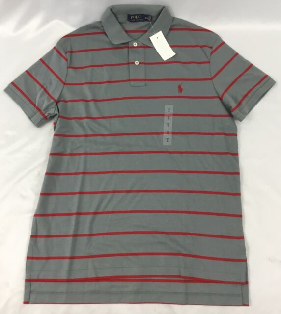 Ralph Lauren Men S Polo Shirt Cotton Pale Slate Gray Red Stripes