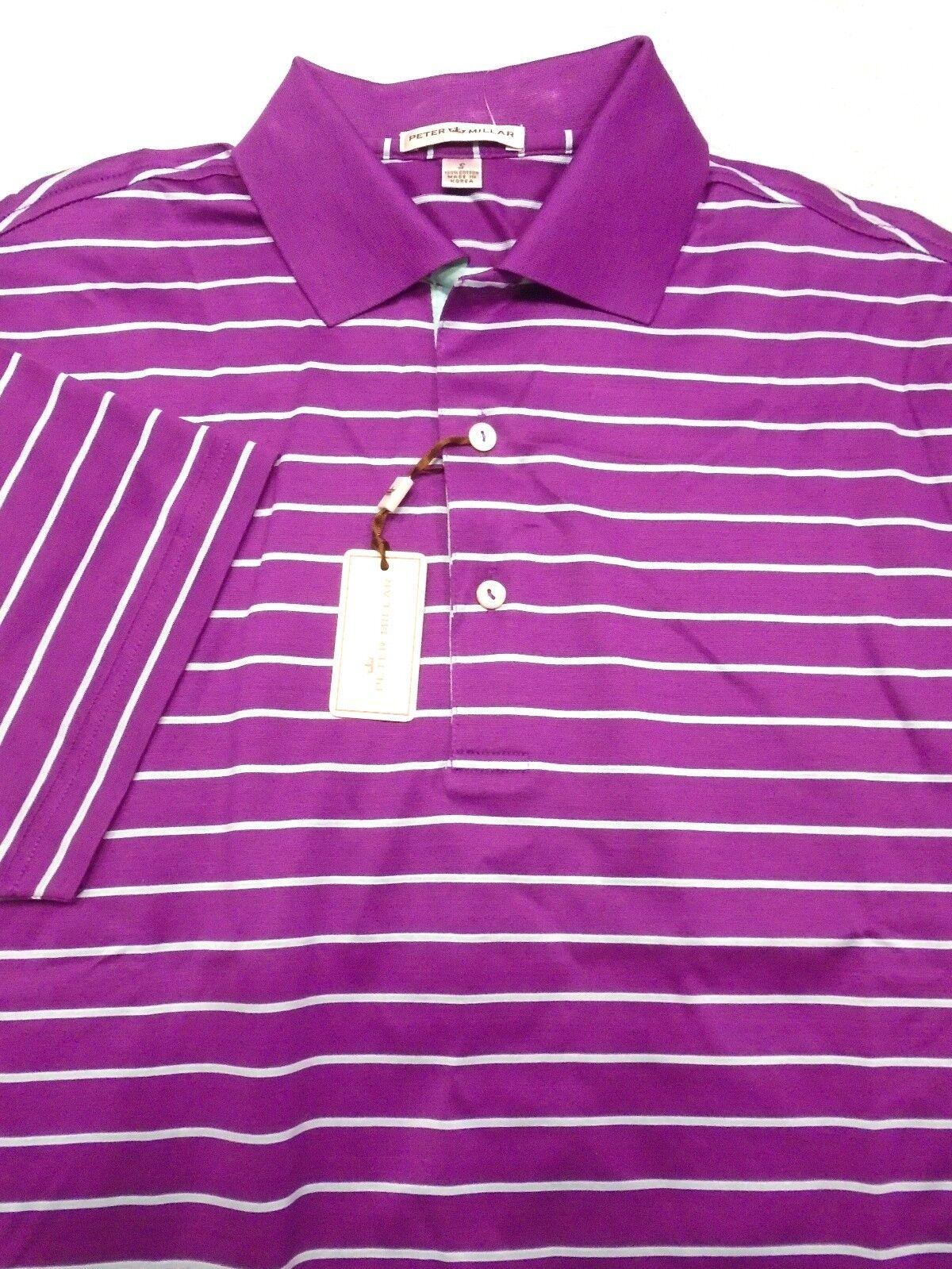 Peter Millar 100% Cotton Beet Purple and bluee Stripe Polo Shirt NWT Small