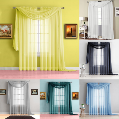 3pc Set Home Decor Voile Sheer Panel Window Dressing Curtain With Scarf Valance Om Digest Greasy Food Te Helpen