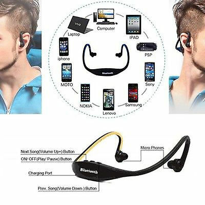 Cuffie STEREO Cuffie iPhone per Wireless HTC Sport Samsung Bluetooth pftSC