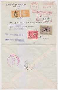 COLOMBIA 1952 R-AIR COVER BOGOTA-BRUXELLES RATED 1.10P + 43c RED METER MAIL F,VF