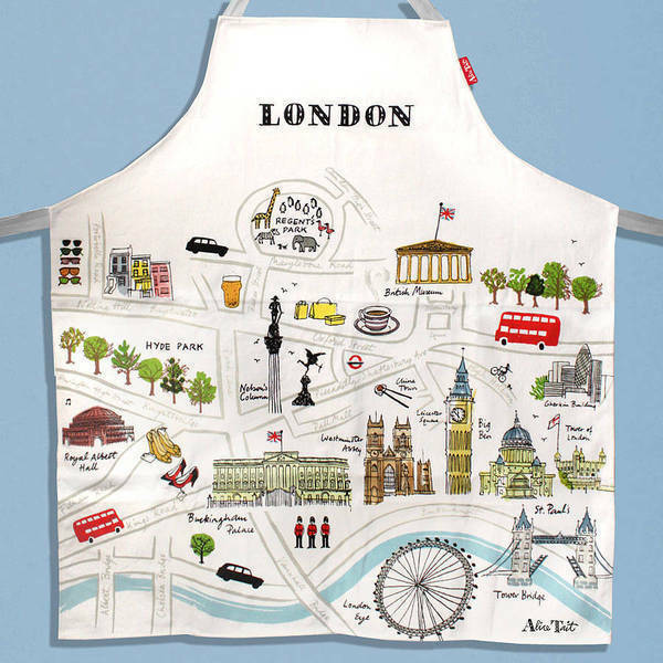 "Alice Tait ""Map of London""  Apron 100% Cotton Cream with Light Blue Ties"