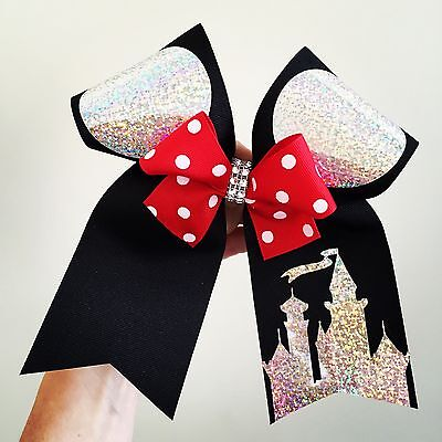 Big Black Holographic Mickey Ears Cheer Bow Mini Bow Attached  Disney Castle