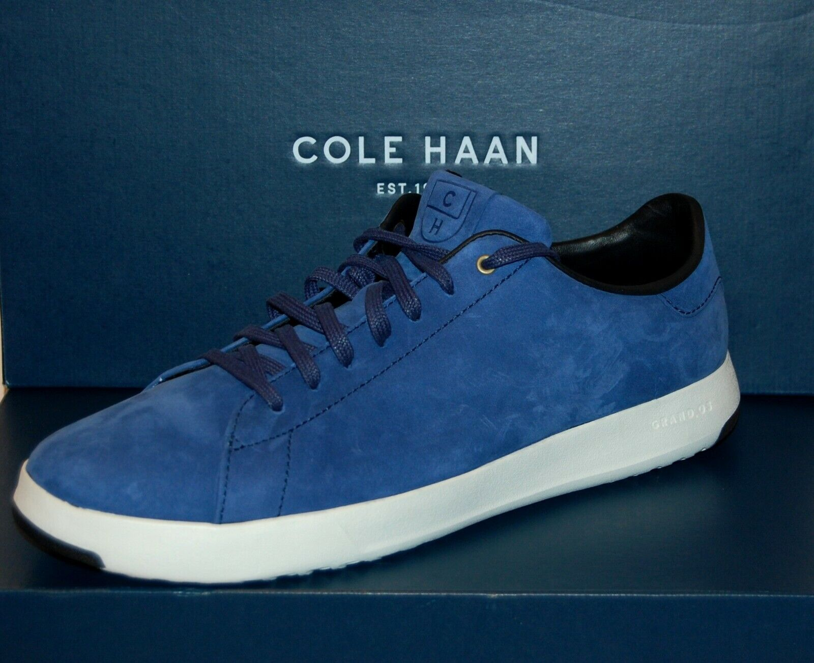Cole Haan Men's bluee White Sole Rainstorm Nubuc Lace Fashion Sneakers Sz 12