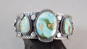 Vintage-Navajo-Handmade-Royston-Turquoise-3-Stone-Bracelet-In-Sterling-Silver