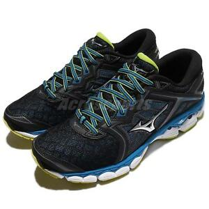 Mizuno Wave Sky Black Blue Yellow Men Running Shoes Sneakers Trainer ... 091919cac