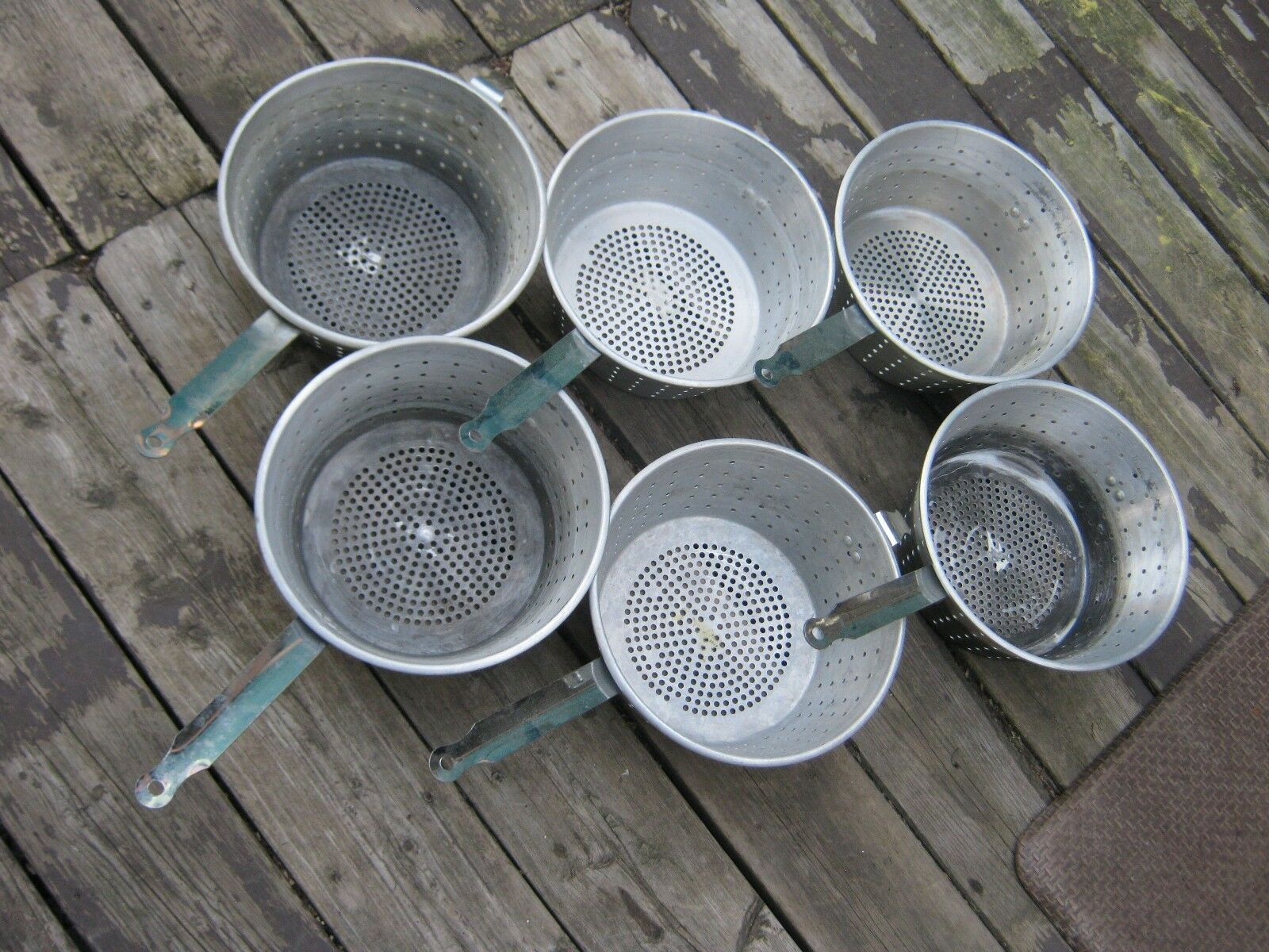 6 pcs utilisé en aluminium Friteuse pot panier 10  Diamètre Acier Inoxydable Poignée