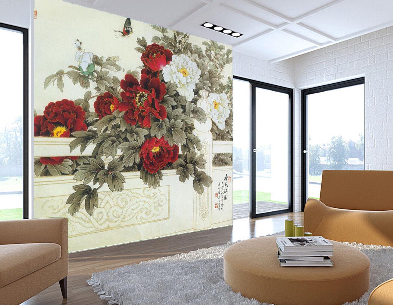 3D ROT Peony Flower Wallpaper Murals Wall Print Wallpaper Mural AJ WALL AU Lemon