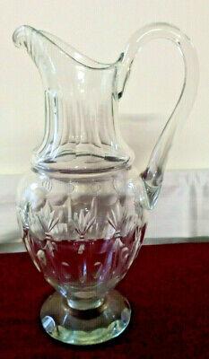 *kristall Karaffe/ Krug*m.henkel,m.schliffarbeiten,ca.32,5cmh,sge