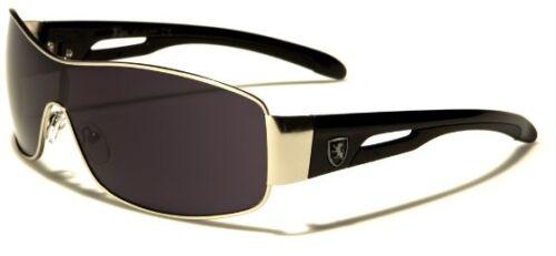 Nouveau Khan Homme Noir Designer Celebrity habillages rectangle wrap lunettes de soleil UV400