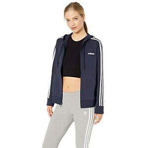 adidas Women's Essentials 3-stripes Single Jersey Full-zip Hoodie ...