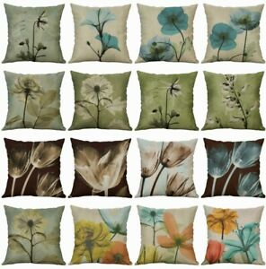 Cotton-Linen-Cushion-Cover-Tulip-Square-Decorative-Throw-Home-Flower-Pillow-Case