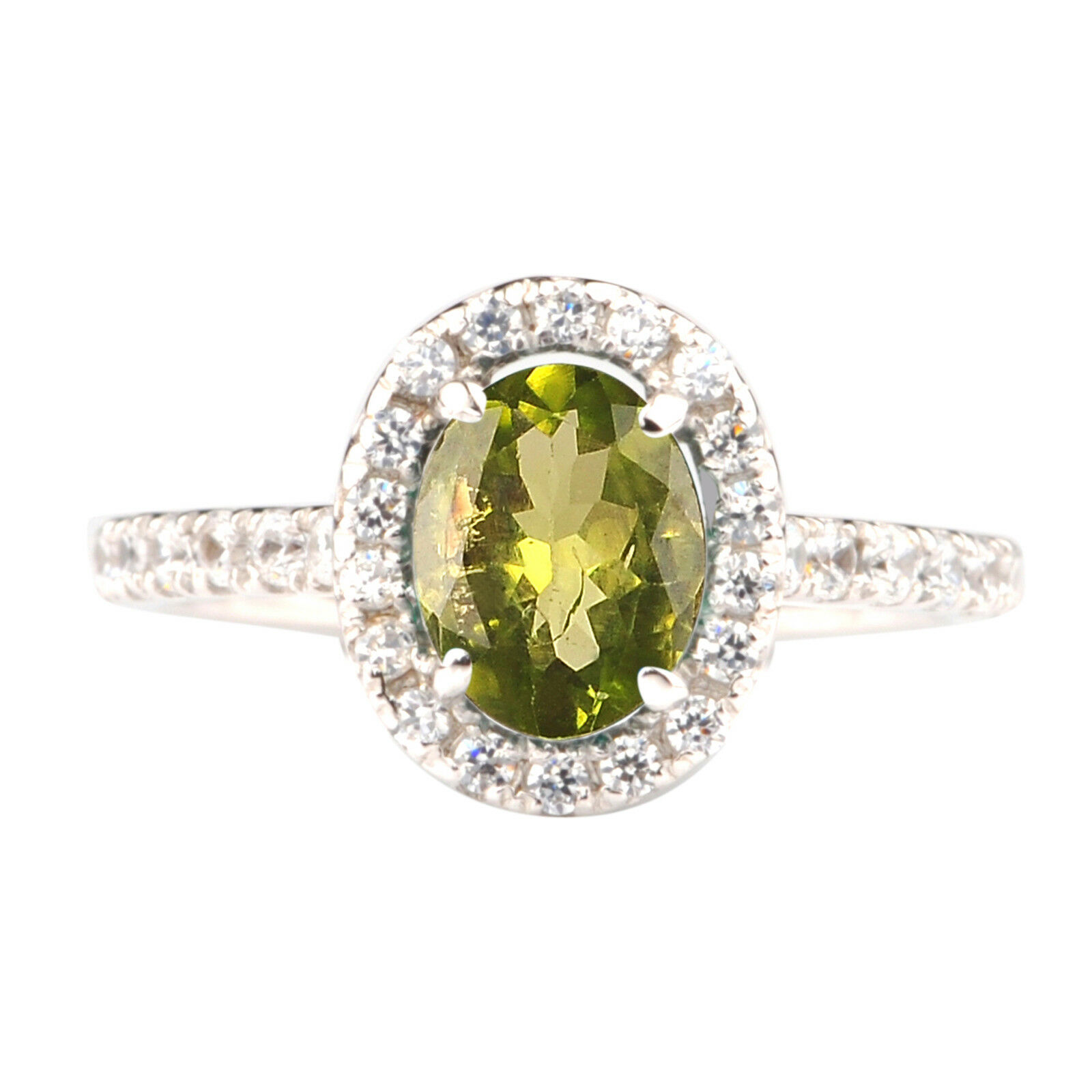 2.00Ct Natural Olive-Green Peridot EGL Certified Diamond Ring In 14KT White gold