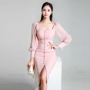 online store 27a99 c116f Dettagli su vestito corto abito tubino elegante rosa cipria morbido moda  manica 4847
