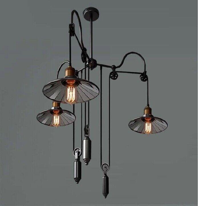 Loft Industrial Trigeminal Glass Chandelier Scalable Lifting Mirror Droplight