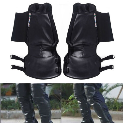 Unisex Motorcycle Riders Leather Half Chaps Legging Leg Cover Wind Proof Pair