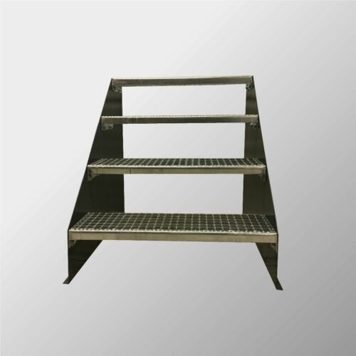 4-stufige Stahltreppe freistehend / Standtreppe Breite 60cm Höhe 84cm Anthrazit