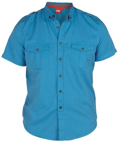 Mens Branded D555 Tropicana Short Sleeve Blue Designer Big Top King Size 2XL