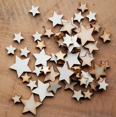 Wooden MINI MIXED STARS Natural Birchwood Embellishment Shapes Craft or Scatter