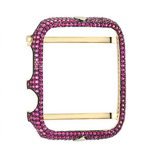 on sale 58634 44a6c Details about Custom Apple Watch Bezel Case 42mm 925 Silver Purple  Simulated Diamond Gold Tone