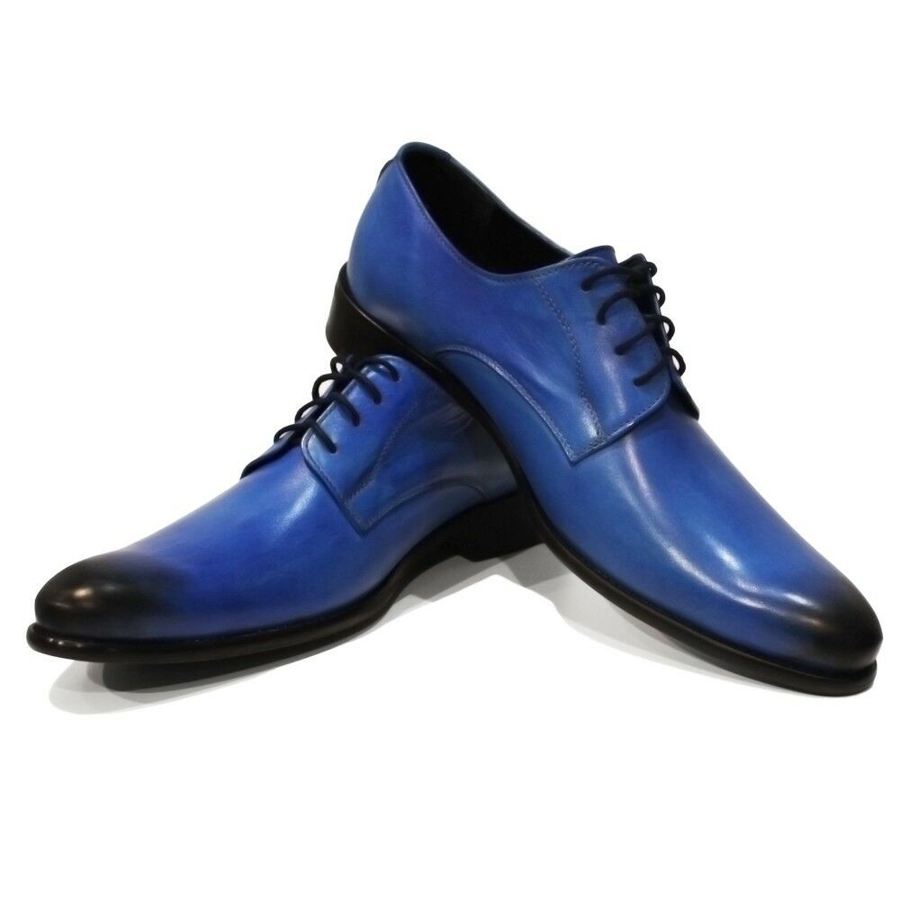 Modello Blito - Handmade colorful Italian Italian Italian Leather Oxfords Dress shoes bluee e8c6d7