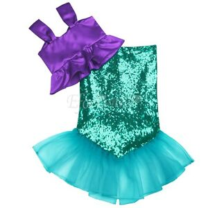 b875b677530f Details about Toddler Girls Sequins Little Mermaid Tail Costume Halloween  Outfits Top+Skirt