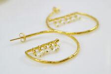 OttomanGems semi precious gem stone gold plated hoop earrings Pearl handmade