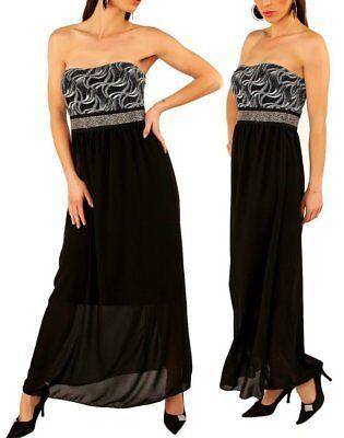 SeXy Miss Damen Bandeau Maxi Kleid Glitzer Dress lang 34 ...
