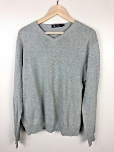 J-Crew-Factory-Men-039-s-Sweater-V-Neck-Pullover-Gray-100-Cotton-Size-L