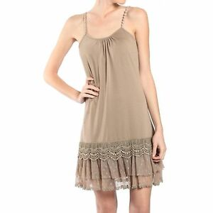 Details About Ryu Cocoa Camisole Long Tunic Slip Dress Extender Lace Ruffled Trim Layering S L